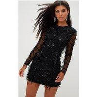 Black Sequin Detail Long Sleeve Mini Dress