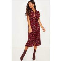 Burgundy Leopard Print Crepe Shirt Tie Waist Midi Dress