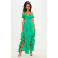 Bright Green Cold Shoulder Ruffle Detail Maxi Dress