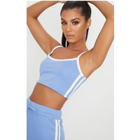 Baby Blue Contrast Stripe Crop Top