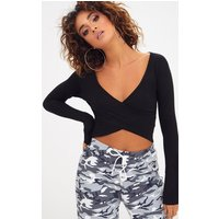 Black Wrap Front Longsleeve Crop Top
