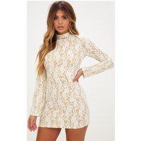 White Glitter Lace High Neck Bodycon Dress