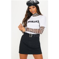 Black Belted Buckle Denim Skirt