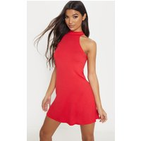Basic Red Jersey High Neck Swing Dress