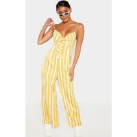 Image of Mustard Stripe Strappy Knot Front Jumpsuit