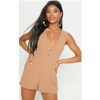 Camel Button Detail Slouchy Playsuit