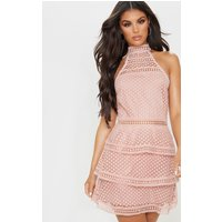 Image of Dusty Pink Lace Panel Tiered Bodycon Dress, Dusty Pink