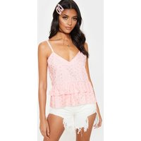 Baby Pink Broderie Anglaise V Neck Peplum Cami