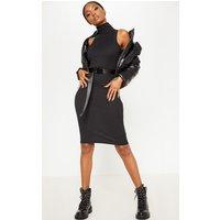 Black Rib High Neck Sleeveless Midi Dress