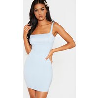 Baby Blue Lace Insert Corset Detail Bodycon Dress