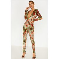 Black Mixed Rose Print Velvet Jumpsuit