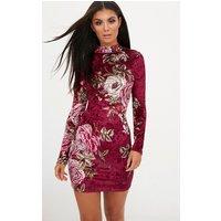Berry Long Sleeve Floral Velvet Bodycon Dress