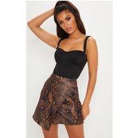 Brown Printed Button Detail Wrap Mini Skirt