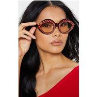 Red Gemstone Tortoiseshell Frame Retro Cat Eye Glasses
