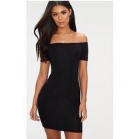 Basic Black Short Sleeve Bardot Bodycon Dress