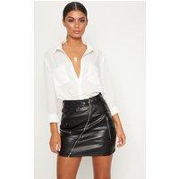 Black Faux Leather Biker Belted Mini Skirt