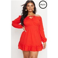 Plus Red Cheesecloth Bardot Swing Dress