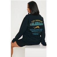 Black Calabasas Print Oversized Sweater