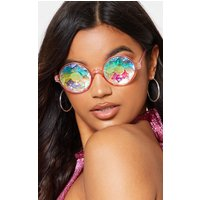 Pink Iridescent Faceted Glasses