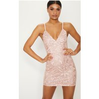 Image of Dusty Pink Embroidered Lace Detail Plunge Bodycon Dress, Dusty Pink