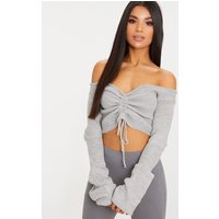 Grey Ruched Knit Extreme Sleeve Crop Jumper