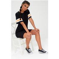 Black Triple Banded T Shirt Dress