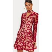 Burgundy Lace Choker Detail Frill Hem Bodycon Dress