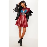 Burgundy Belted Faux Leather Pleated Mini Skirt