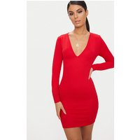 Basic Red Long Sleeve Plunge Bodycon Dress
