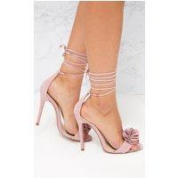 Blush Ruffle Detail Lace Up Heels, Blush
