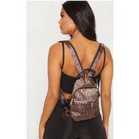 Prettylittlething Brown Logo Satin Front Bum Bag
