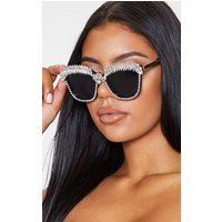 Black Statement Diamante Border Glasses