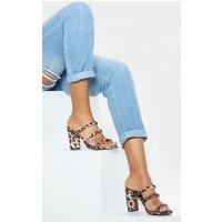 Image of Leopard Triple Strap Mule Block Heel Sandal