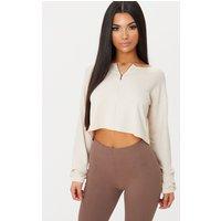 Cream Zip Front Sweater