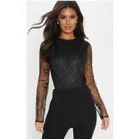 Black Backless Long Sleeve Glitter Bodysuit