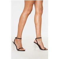 Image of Black Lycra Clear Block Heel Sandal, Black