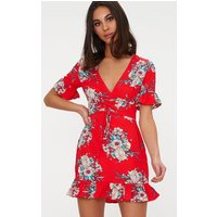 Red Floral Corset Swing Dress