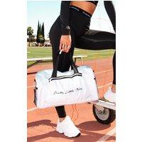 Prettylittlething White Logo Gym Bag
