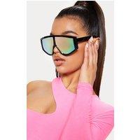 Black Frame Rose Lens Flat Top Modern Sunglasses