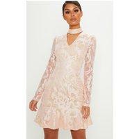 Dusty Pink Lace Choker Detail Frill Hem Bodycon Dress