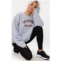 Grey Marl California Slogan Oversized Sweater