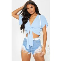 Baby Blue Chiffon Knot Front Short Sleeve Crop Blouse