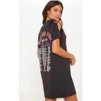 Charcoal Black Tour Dates Lace Up Shoulder Oversized T Shirt Dress