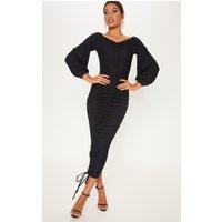 Black Ribbed Balloon Sleeve Ruched Midi Dress