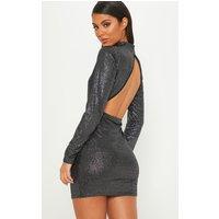 Black Glitter High Neck Open Back Bodycon Dress