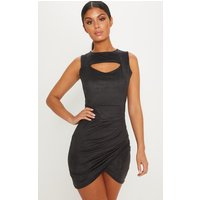 Black Faux Suede Ruched Mini Dress