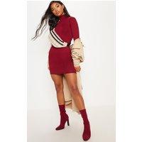Basic Burgundy High Neck Jersey Mini Dress