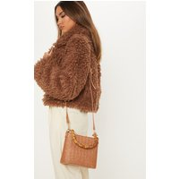 Rust Bamboo Handle Raffia Cross Body