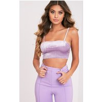 Anala Lilac Velvet Strappy Crop Top