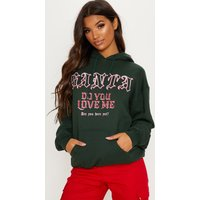 Forest Green Santa Do You Love Me Printed Hoodie